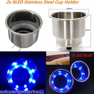 2x 8LED Blue Recessed Stainless Steel Cup Drink Holder For Car Boat Truck Camper