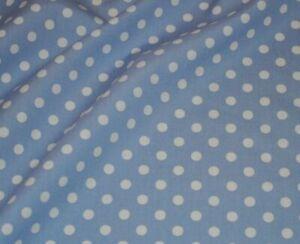 "PREMIUM POLY/COTTON FABRIC BABY BLUE POLKA  2mm DOT 3.6 Mtrs DRESS -CRAFT 60"""