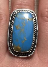 NEW OVERSIZED GENUINE SOLID 925 STERLING SILVER & TURQUOISE RING SIZE P