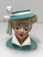 Napco Lady Head Vase C3959C 1959 Victorian Elegant Hat Ribbon Eyelash