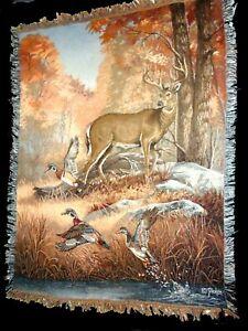 """Vintage Picken Throw Blanket Wall Hanging Deer Ducks 51"""" x 68"""" Nature Tapestry"""