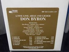 Don Byron - a Fine Line Arias and Lieder PROMO CD Rare JAZZ