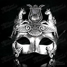 Masquerade Mask Men Venetian Roman Horse Warrior Metallic Silver Mask