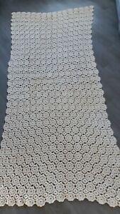 Vintage crochet cream throw/ Settee Back/ sofa cover. 255cm length x 120cm width