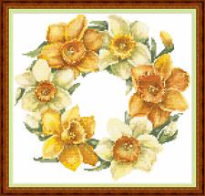 "'DAFFODIL RING' Cross Stitch Chart (9""x9"") Flowers/Gardens/Spring/Pretty- NEW!"
