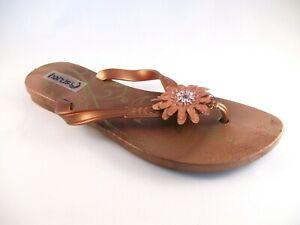 Ladies Bronze Flower Sandals Size 3 Toepost Girls Pool Shower Shoe Holiday Beach