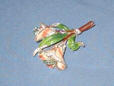 Vintage Silver-Tone Metal Rhinestone & Enamel Flower Trembler Pin Brooch