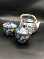 Vintage Porcelain Teapot Set w/ 2 Cups & 2 Lids Japan