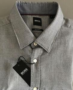 Hugo Boss Lukas_53 Dark Blue Regular Fit Long Sleeves Shirt Size XL