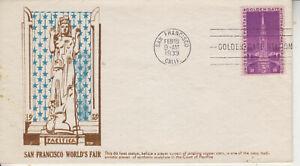 FDC #852 SAN FRANCISCO WORLD'S FAIR CACHETCRAFT BLUE/BROWN CACHET UNADDRESSED