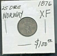 NORWAY - BEAUTIFUL HISTORICAL SILVER 25 ORE, 1876