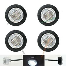 "4X 12V Round Side WHITE Clear 6 LED 1-1/4"" Marker Light Boat Car Bus Navigation"