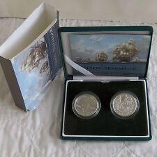 2005 NELSON & TRAFALGAR 2 x PIEDFORT SILVER PROOF £5 CROWNS - boxed/coa/slip