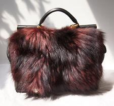 Dolce & Gabbana Miss Sicily Mamma Bordeaux Fox Fur Satchel Bag 100% Authentic