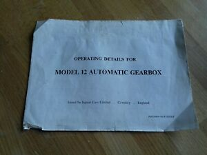 JAGUAR DAIMLER MODEL 12 AUTOMATIC GEARBOX OPERATING HANDBOOK SUPPLEMENT XJ6 4.2