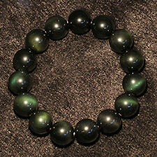 Natural 8mm Dark Green Jade Round Gemstone Beads Stretchy Bangle Bracelet 7.5''