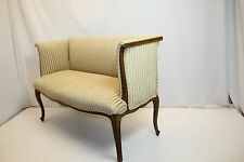 French Louis Xv Loveseat Bench Newly Reupholstered in striped Velvet, c.1920's