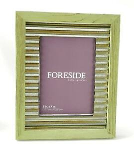 Photo Frame Green Wood And Corrugated Metal Refined Rustic Design 5x7
