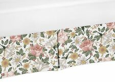 Vintage Floral Boho Flower Pleated Baby Girl Nursery Crib Bed Skirt Dust Ruffle