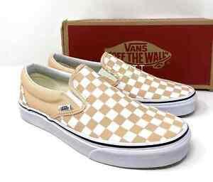 VANS Classic Slip On Checkerboard Bleached Beige Size Men's Sneakers VN0A38F7U77