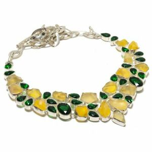 "Lemon Topaz Druzy & Chrome Diopside 925 Sterling Silver Necklace 17.99"" N8745"