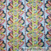 BonEful Fabric FQ Cotton Quilt Blue White Gray Peacock Paisley Flower Dot Stripe