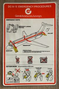 GREAT AMERICAN AIRWAYS DC-9-15 SAFETY CARD