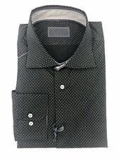 Pal Zileri Jet Black and Grey Cotton Button Down Shirt Size 17
