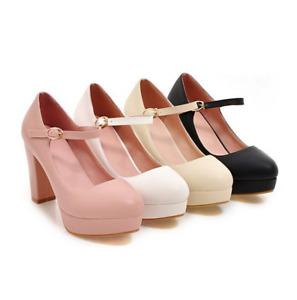 Womens Mary Jane Lolita Pumps Block Heels Platform Buckle Strappy Court Shoes