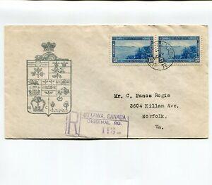 Canada 1938 Halifax Harbor Pair Registered Cachet FDC USA