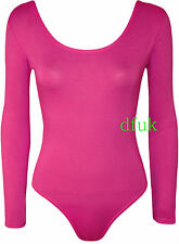 NEW LADIES WOMEN GIRL LONG SLEEVE PLAIN VISCOSE TOP PARTY BODY SUIT SIZE 8- 14
