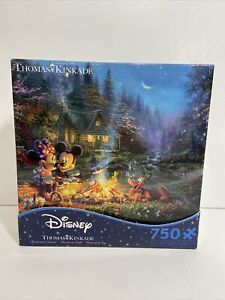 Disney Thomas Kinkade PUZZLE Minnie & Mickey Sweetheart Campfire Fire 750 Pieces