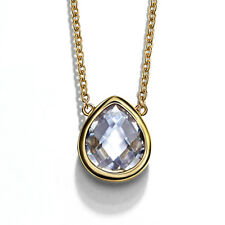 Fashion 18k Gold Plated Clear White Austria Crystal Chain Necklace Pear Pendant