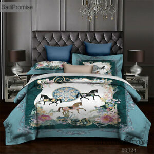 Horse Chinese Style Bird Plant Plaid Stripe Duvet Cover Sheet King Bedding Set