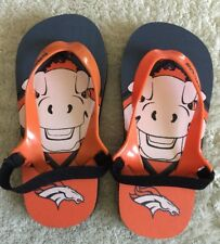 Denver Broncos Football Navy Blue Orange White Kids Flip Flops Sandals Toddler 7