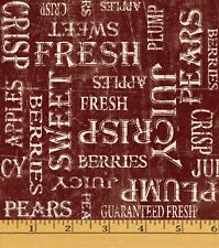 Fruit Market Words Apples Orchard Red Cotton Fabric Print by the Yard D769.26