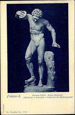 Erotische Kunst 1910 Skulptur Mann nackt mit Diskus AK Motivkarte Postcard