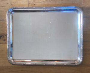 Silver Plate Christofle Tray Rubans Pattern Hallmarked Large 17x13 inches French