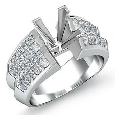 2.15 Ct Princess Cut Vs1 F Diamond Engagement Bridal Setting 14k White Gold Ring