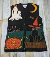 VTG CAPE ISLE KNITTERS UGLY HALLOWEEN Hand Knit Sweater Vest Women's M Black Cat