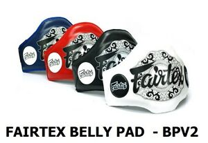 New Fairtex Muay Thai Leather Belly Pad BPV2 Light Weight Black White Red Blue