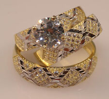 Men And Ladies  Yellow Gold Trio Set Wedding And Engagement Rings Briadal set