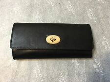 NWT Coach Smith Leather Turnlock Slim Chain Envelope Wallet Black F53890