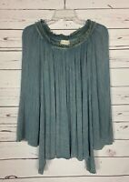Altar'd State Women's Size S Small Blue Bell Long Sleeve Spring Tunic Top Shirt