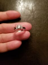 1/2 CT WHITE TOPAZ & DIAMOND SOLITAIRE 10KT SOLID WT GOLD ENGAGEMENT RING SZ 7
