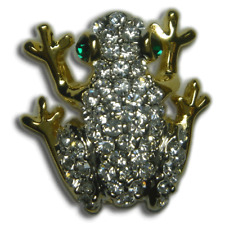 Crystal Clear Frog Reptile Brooch Pin Gold Plated Made With Swarovski Elements