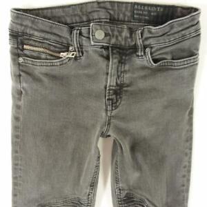 Ladies Womens AllSaints BIKER Stretch Skinny Grey Jeans W26 W27 L30 UK Size 8