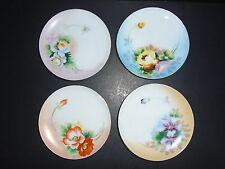 Meito China Japan ~ 4 HAND PAINTED FLORAL FLOWER PLATES  ~  The Jonroth Studios