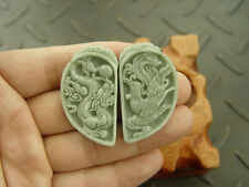 Pair 100% Natural A Jade Jadeite Pendant Green Dragon Phoenix Heart 7938