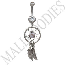 B107 Brown Dreamcatcher Dream Catcher Belly Navel Ring Feathers Bead Surgical